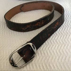 Accessories - Leather Tooled Belt w/Silver Toned Buckle